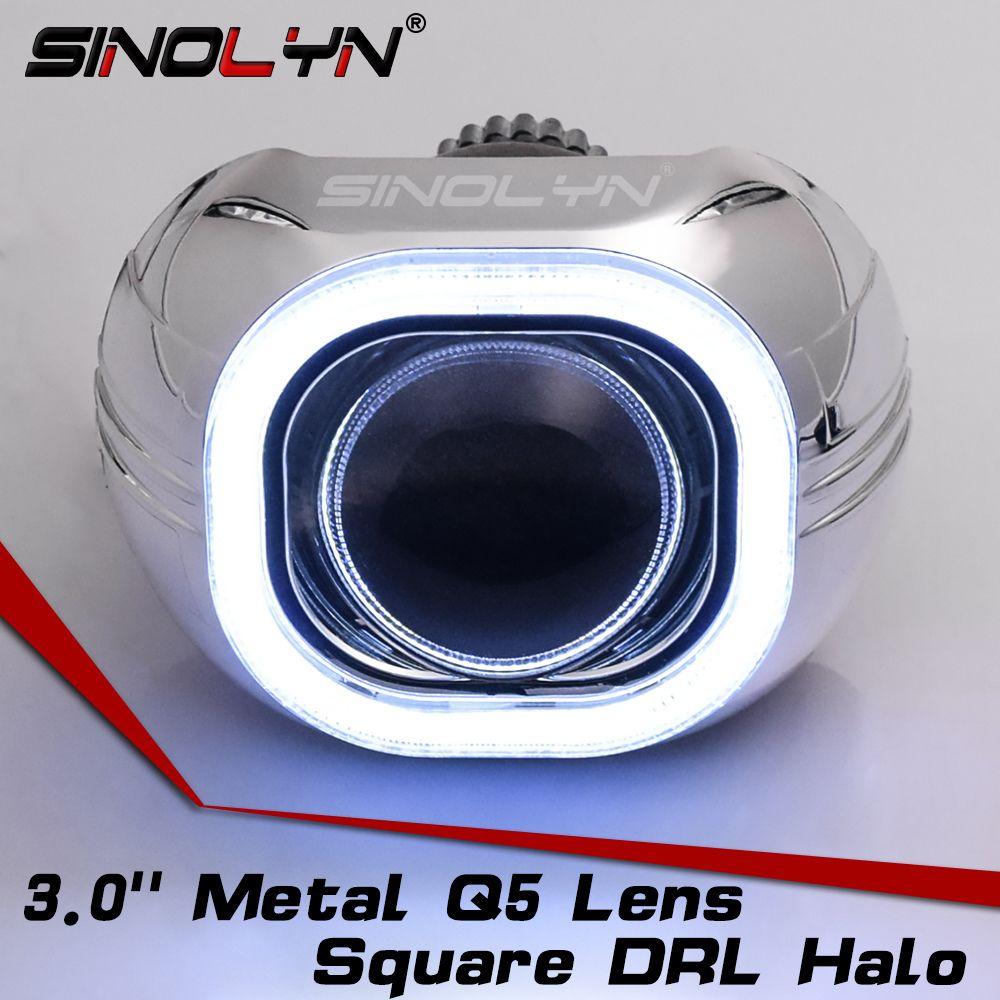 SINOLYN Metal 3.0'' H4 Q5 D2S Bi xenon Lenses HID Projector Lens Headlight Kit Square COB LED Angel Eyes Halo White Car-styling