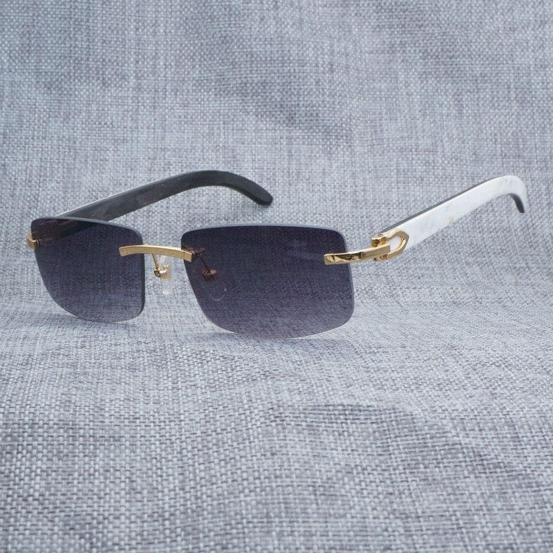 Vintage Randlose Weiß Innen Schwarz Buffalo Horn Sonnenbrille Männer Quadrat Sonne Gläser Für Club und Driving Shades Retro Buffalo Horn