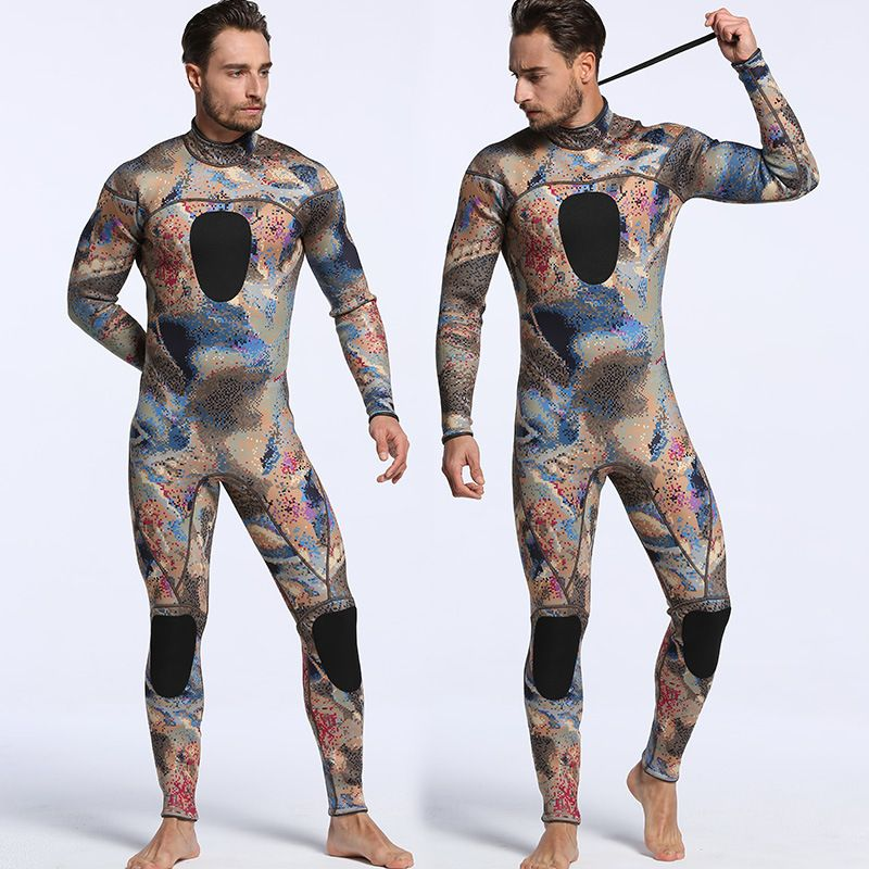 New SCR Neoprene 3mm Camouflage One-piece Diving Suit Surf Suit Warm Waterproof Men Camouflage Diving Suit Size S-XXL