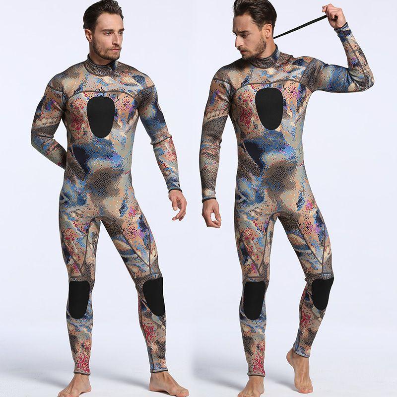 New SCR Neoprene 3mm Camouflage One-piece Diving Suit Surf Suit Warm Waterproof Men Camouflage Diving Suit Size S-XXL