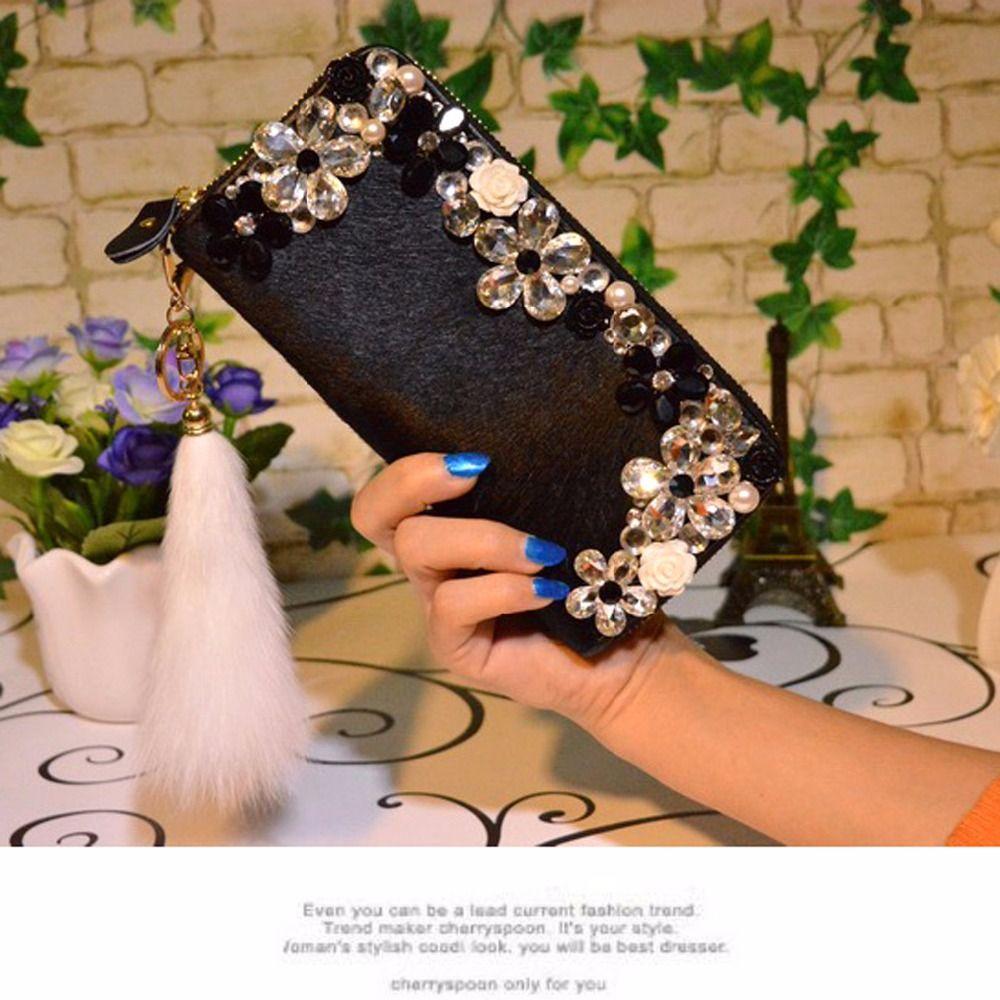 Long-style diamant cheval de fourrure portefeuille marque carte détenteurs de téléphone portable de poche cadeaux pour femmes sac d'argent d'embrayage 852