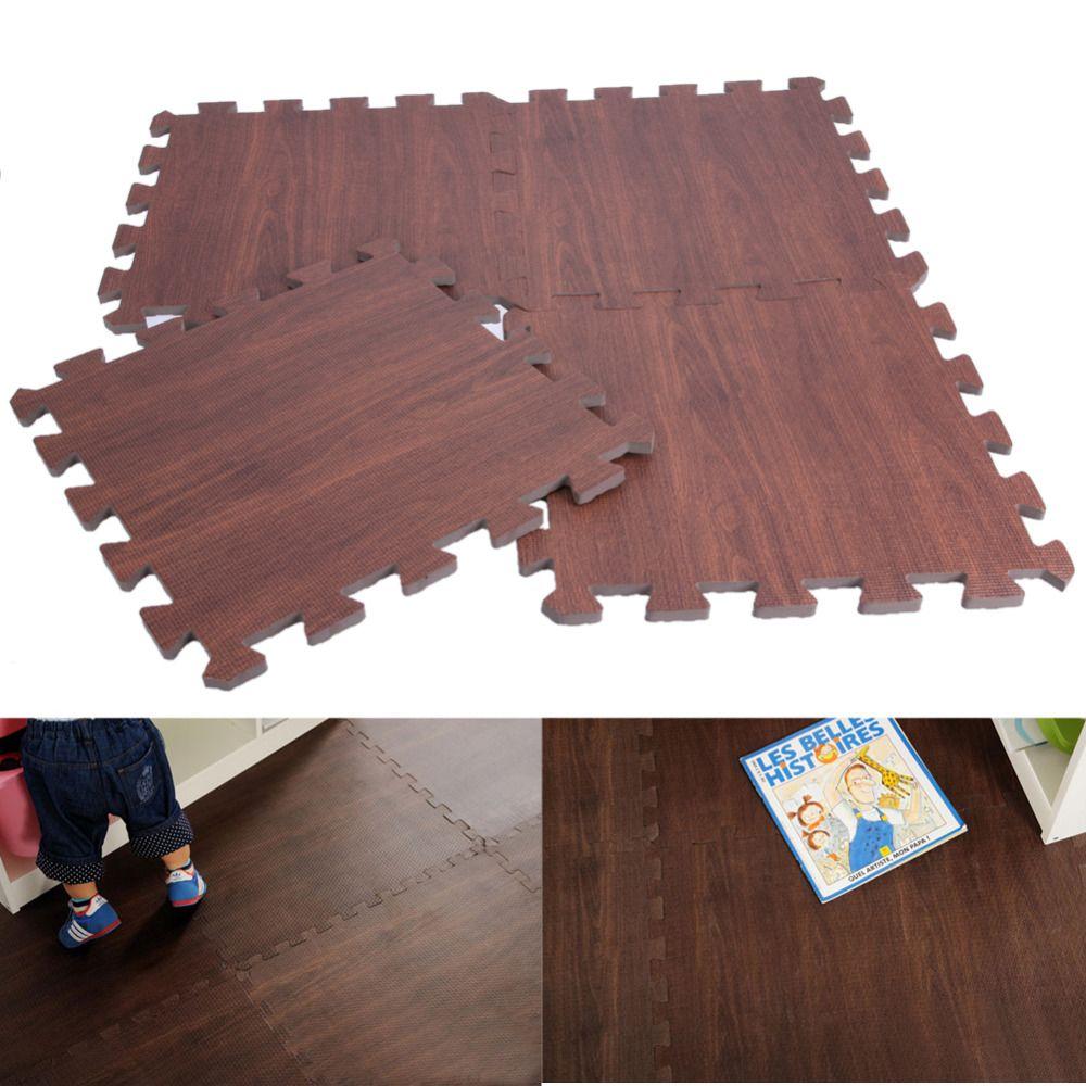 9pcs Floor Mat EVA Wood Kitchen Mats Wood-like Carpet Children's Rugs for Bedroom Home Decor 30 X 30cm