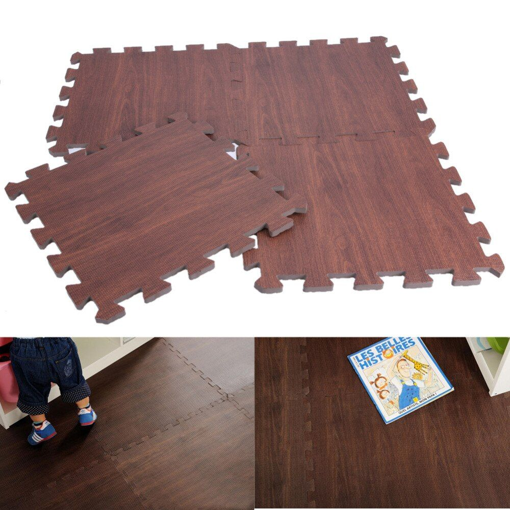 9pcs Floor Mat EVA Wood Kitchen Mats Wood-like Carpet Children's Rugs for Bedroom <font><b>Home</b></font> Decor 30 X 30cm