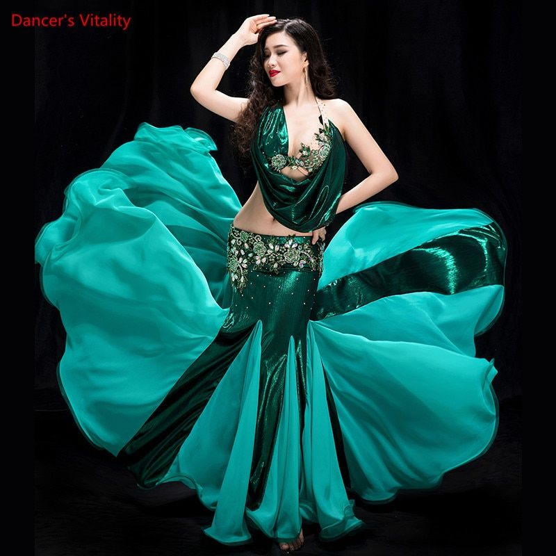 Women 2 piece of Performance of Belly Dancing Show in Costume Bra+fish Tail skirt Dance Cothing Belly dance competition Dress