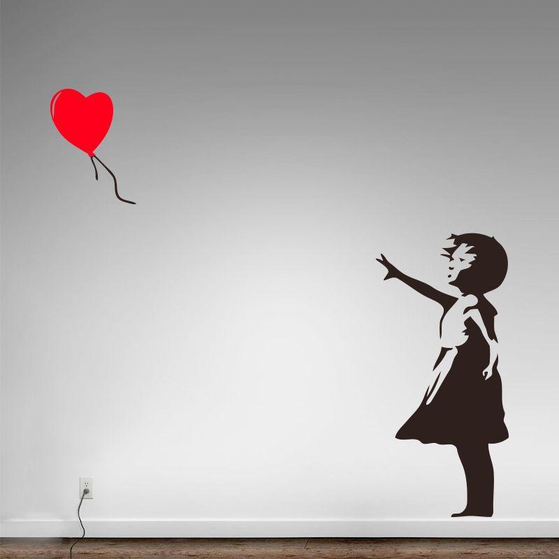 Banksy Vinyle Wall Sticker Home Decor Fille avec le Ballon de Coeur rue Graffiti Art Decal Il Ya Toujours de L'espoir Murale Livraison gratuite