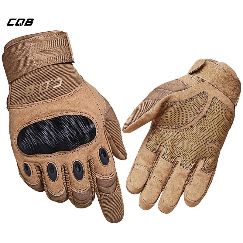 CQB Outdoor Sports <font><b>Tactical</b></font> Gloves Full Finger for Hiking Riding Cycling Military Men's Gloves Armor Protection Shell Gloves