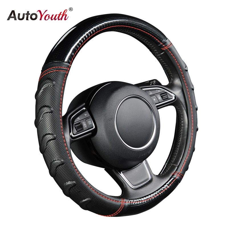 AUTOYOUTH Willow Patterned Massage Car Steering Wheel Cover Soccer Pattern Splice Light Leather Universal Fits Most Car Styling