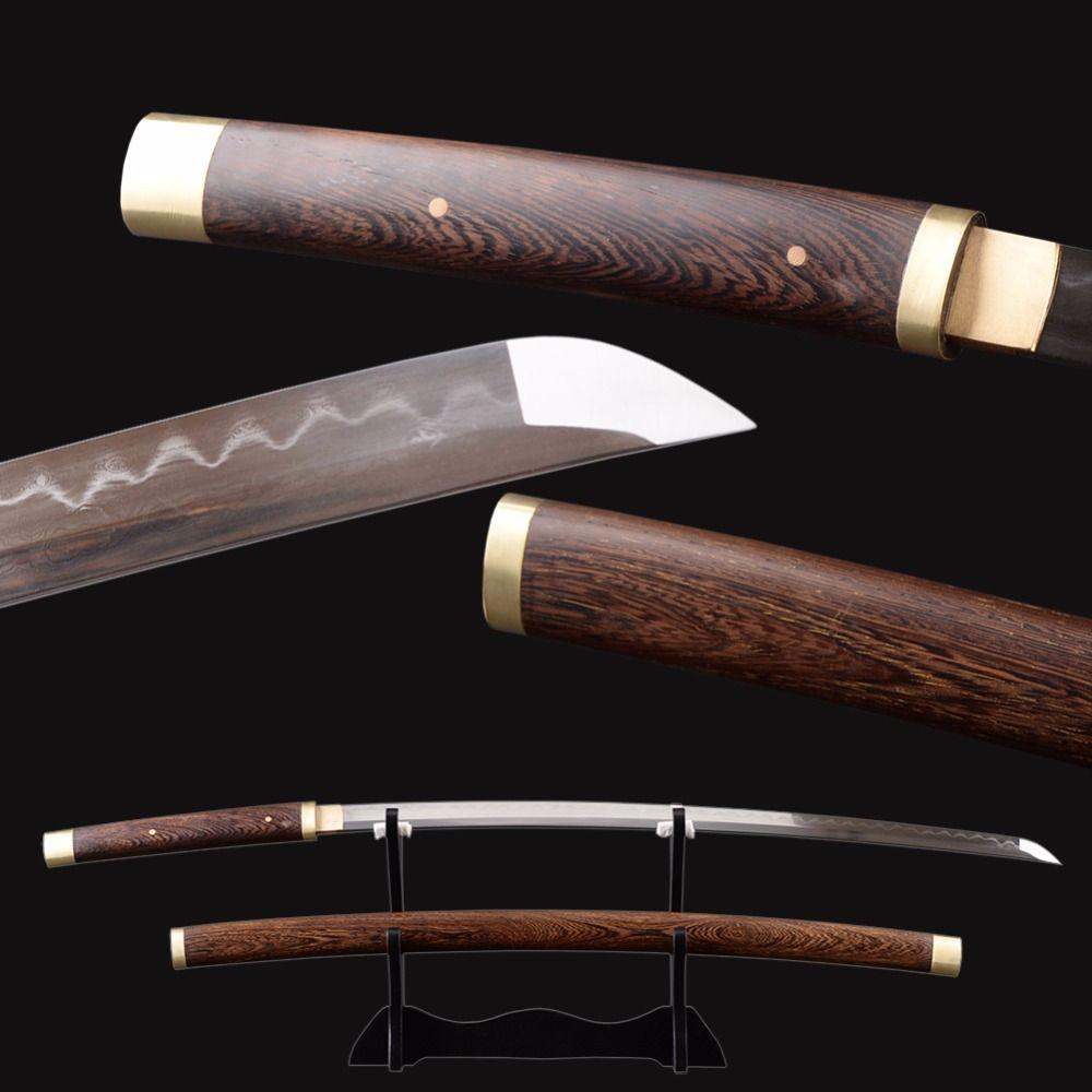 Brandon Schwerter Full Tang Japanischen Samurai Katana mit Palisander Saya Sehr Sharp Gefaltet Stahl Ton Gehärtetem Espada Schwert