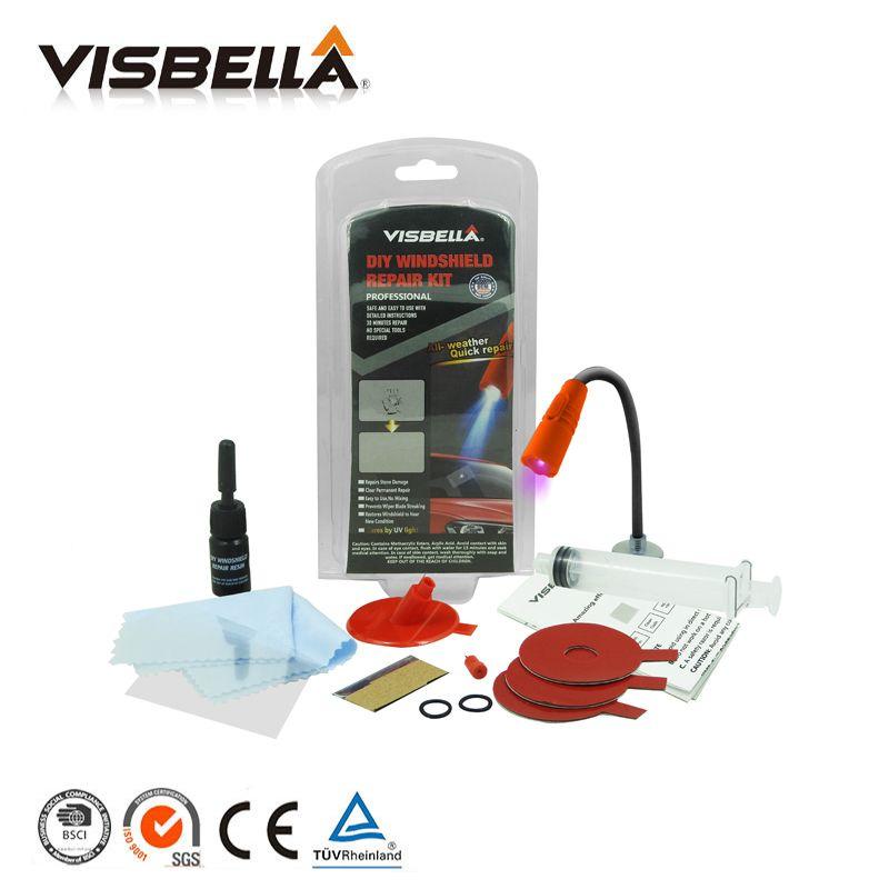Visbella DIY Car repair <font><b>Windshield</b></font> Repair windscreen Glass Chip Crack Bullseye Restore Glue Adhesive with uv lamp hand Tool Set