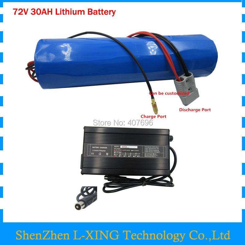 Freies gewohnheiten gebühr 72 v 30AH lithium-batterie 72 v zylinder-form batterie pack verwenden für samsung 3500 mah zelle 50A BMS mit 4A Ladegerät