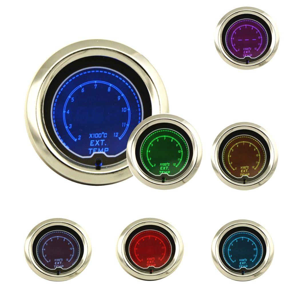 52mm Exhaust Gas Temp Gauge EGT Gauge LCD Digital 7 Color Display With Sensor