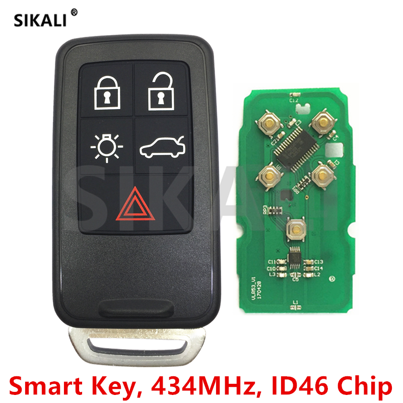 SIKALI Smart Remote Key for Volvo XC60 S60 S60L V40 V60 S80 XC70 434Mhz with ID46 Chip Car Remote Control Door Locking