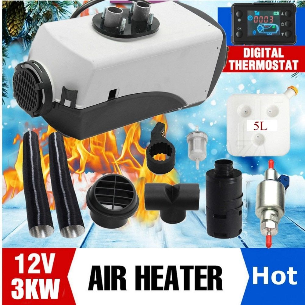 12V 3KW Diesel Air Heater Tank 2x Vent,Duct, Thermostat Motorhome Car Heater LCD Switch/Digital switch/Knob Switch