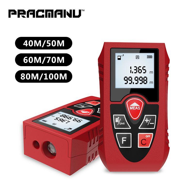 PRACMANU Laser Rangefinders 40M 60M 80M 100M Digital Laser Distance Meter Battery-Powered Laser Meter Device Ruler Test Tool