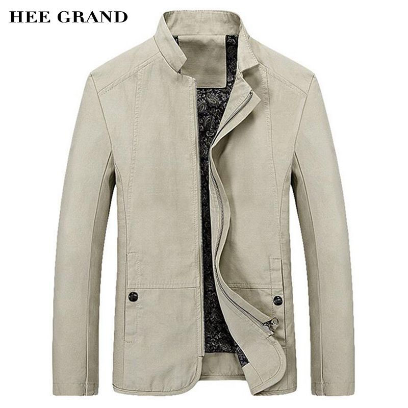 HEE GRAND 2018 Spring Autumn Men's Jacket Casual Slim Fit Solid Color Coat Zipper Stand Collar Outwear MWJ1778