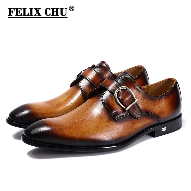 FELIX CHU European Style Handmade Genuine Leather Men Brown Monk Strap Formal Shoes Office Business Wedding Suit Dress Loafers