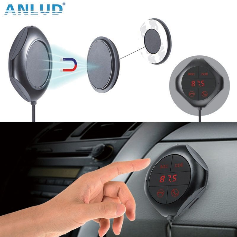 ANLUD Car MP3 Player Bluetooth FM Transmitter Car Kit HandsFree Magnetic Base With Dual USB Car Charger FM Modulator for Phone