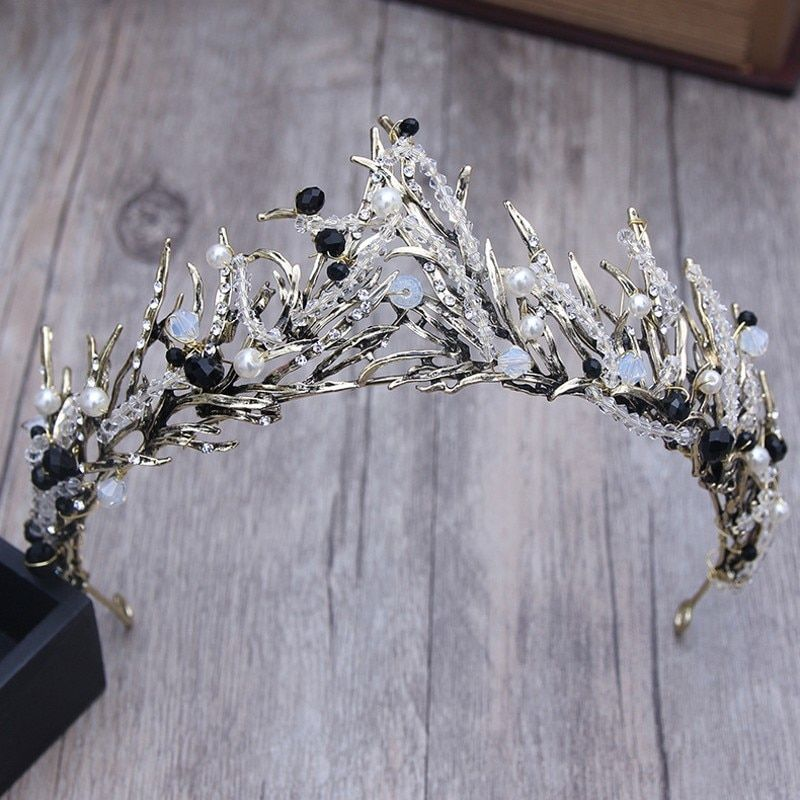 Baroque Bronze Vintage Princess Hair Crown Handmade Artificial Pink/Black Rhinestone Quinceanera Wedding Hair Accessory Hairwear