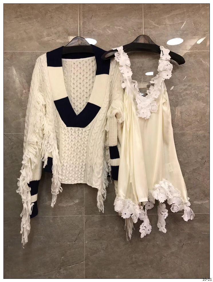2018 Весенняя Новинка поступление Женская мода V воротник свободный свитер с кисточками с кружевным верхом