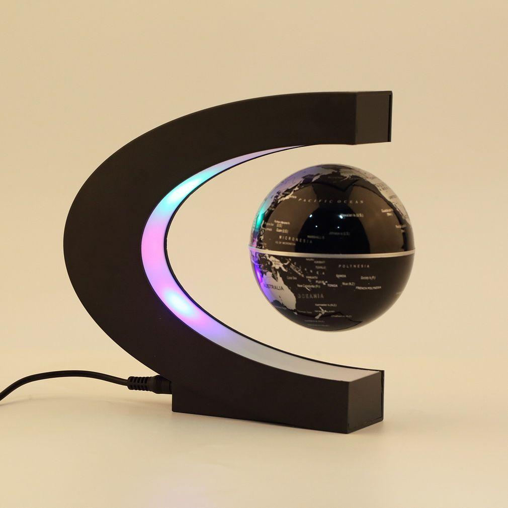 C shape LED World Map Floating Globe Magnetic Levitation Light Antigravity magic/novel light Xmas <font><b>Birthday</b></font> Gift Home Decor E5M1