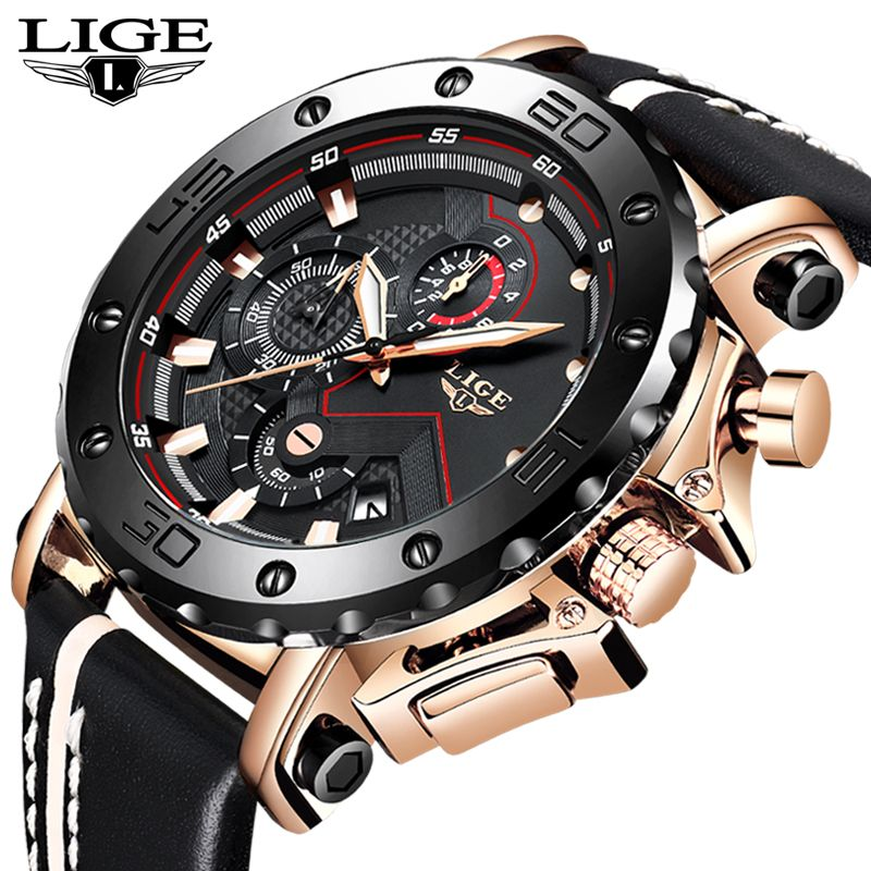 New LIGE Mens Watches Top Brand Luxury Men's Military Sport Watch Leather Waterproof Watch Quartz Watch Relogio Masculino+Box