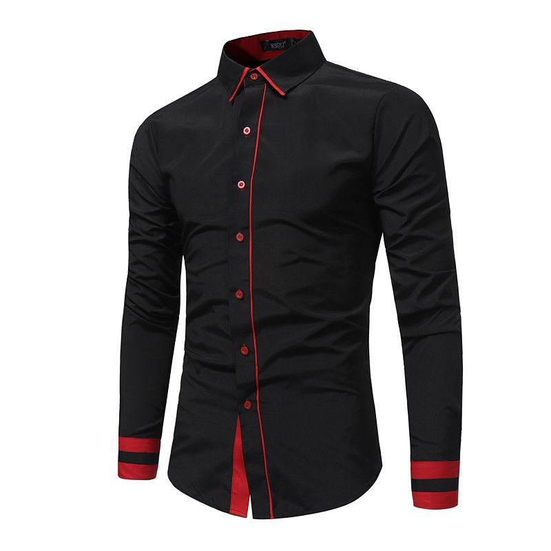 2018 New Fashion Men's Casual Shirt Slim Casual Solid Color Long Sleeve Men's Shirt Slim Shirt Men's Camisa Masculina