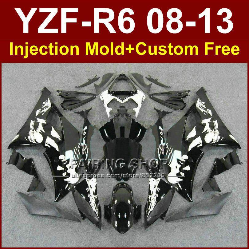 Flat black Injection mold custom fairings for YAMAHA 2008 2009 2011 2013 YZF-R6 bodywork YZF R6 08-13 aftermarket YZF1000 R6