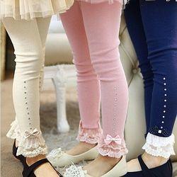 Retail 3 T untuk 11 T Anak Gadis Musim Semi Musim Gugur Berwarna Merah Muda Biru Beige Renda Trim Ruffle Berlian Imitasi Legging Anak Princess kapas Legging