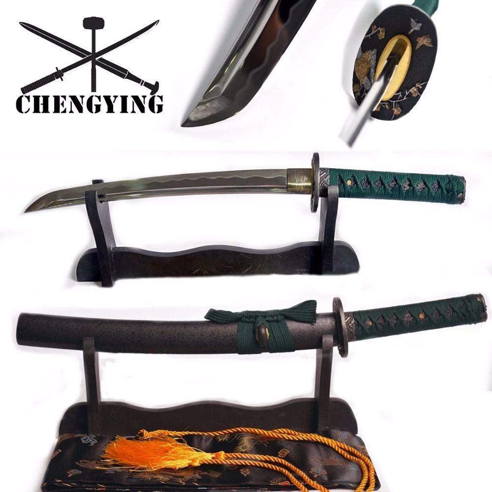 Forgé à la main trempé 9260 lame en acier à ressort japonais Katana Tanto épée une épée tranchante