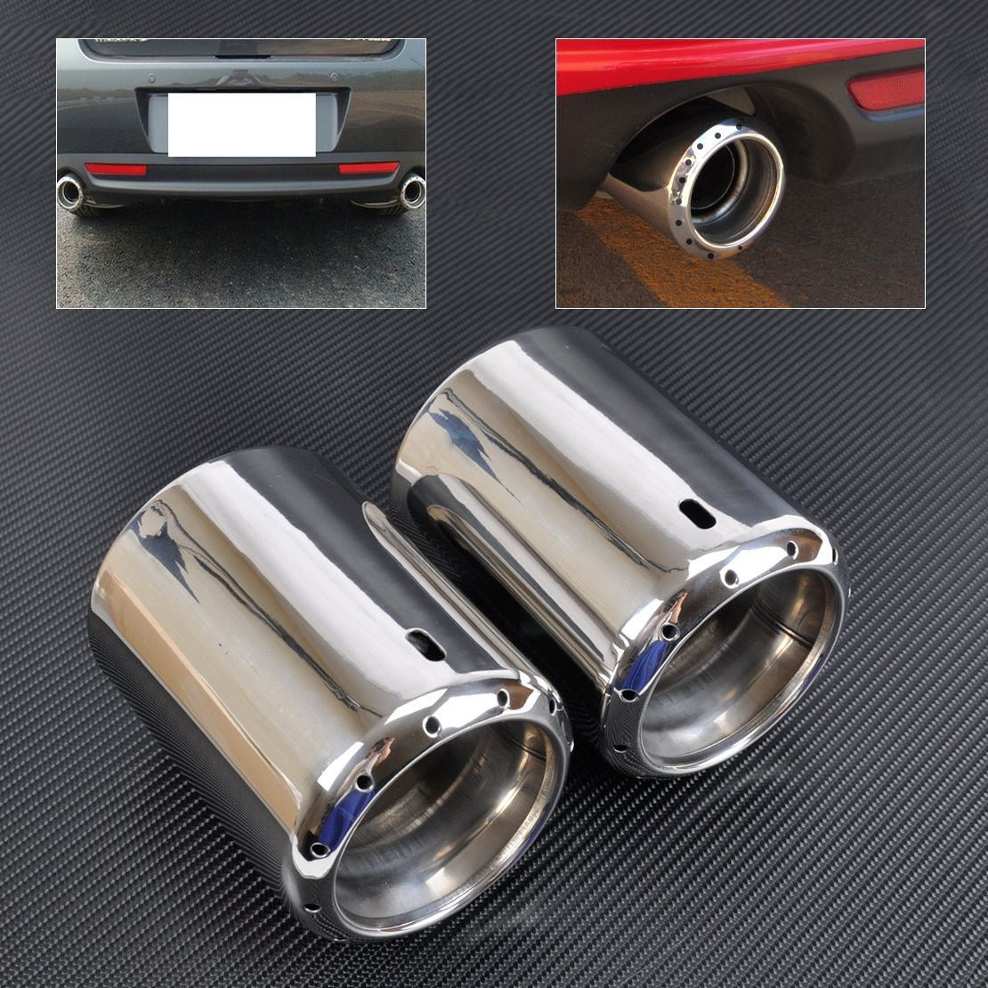 DWCX 2x NEW STAINLESS STEEL EXHAUST TAIL REAR MUFFLER TIP PIPE For 2009 - 2012 2013 2014 Mazda 6 ATENZA 2013 2014 Mazda CX-5