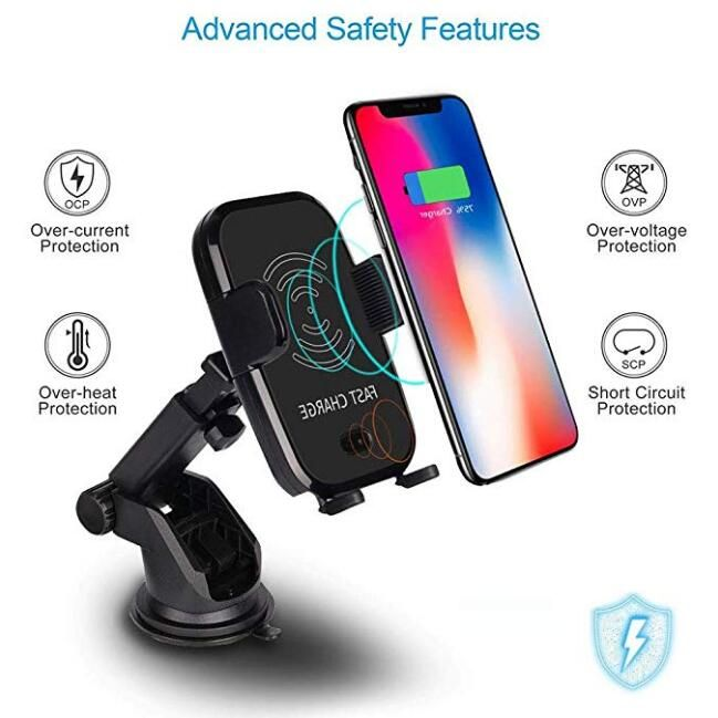 Qi Fast Wireless Car Charger automatic sensor Car Mount Air Vent Phone Holder Cradle for iPhone 8/ 8 Plus/ X Samsung S9 S8 S7