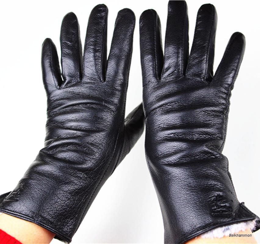 Gloves Rushed 2018 The New Female Leather Gloves Deerskin Straight Soft And Delicate Velvet Lining Autumn Winter <font><b>Weatherization</b></font>