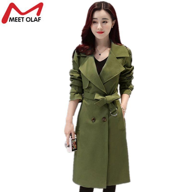 2017 High Quality New Women Trench Coat Female Autumn Thin Casual Long Windbreaker Ladies Overcoat casaco feminino abrigos Y1095