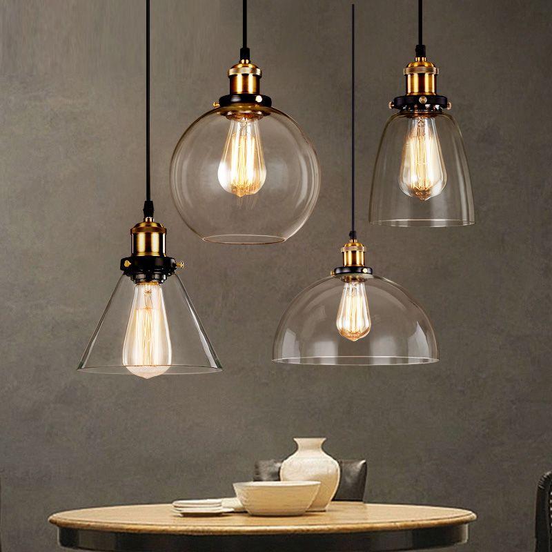 Loft RH Vintage Pendant Lights Glass Industrial Pendant Lamps Metal Retro Lustres Hanging Fixtures luminaire suspendu E27 D98