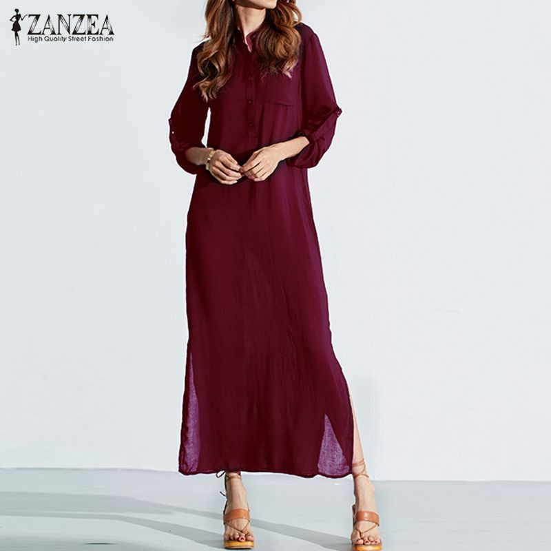 Vestidos 2018 ZANZEA Women Retro Long Dress Elegant Sexy <font><b>Ladies</b></font> Long Sleeve Deep V Neck Long Split Solid Floor-length Dress