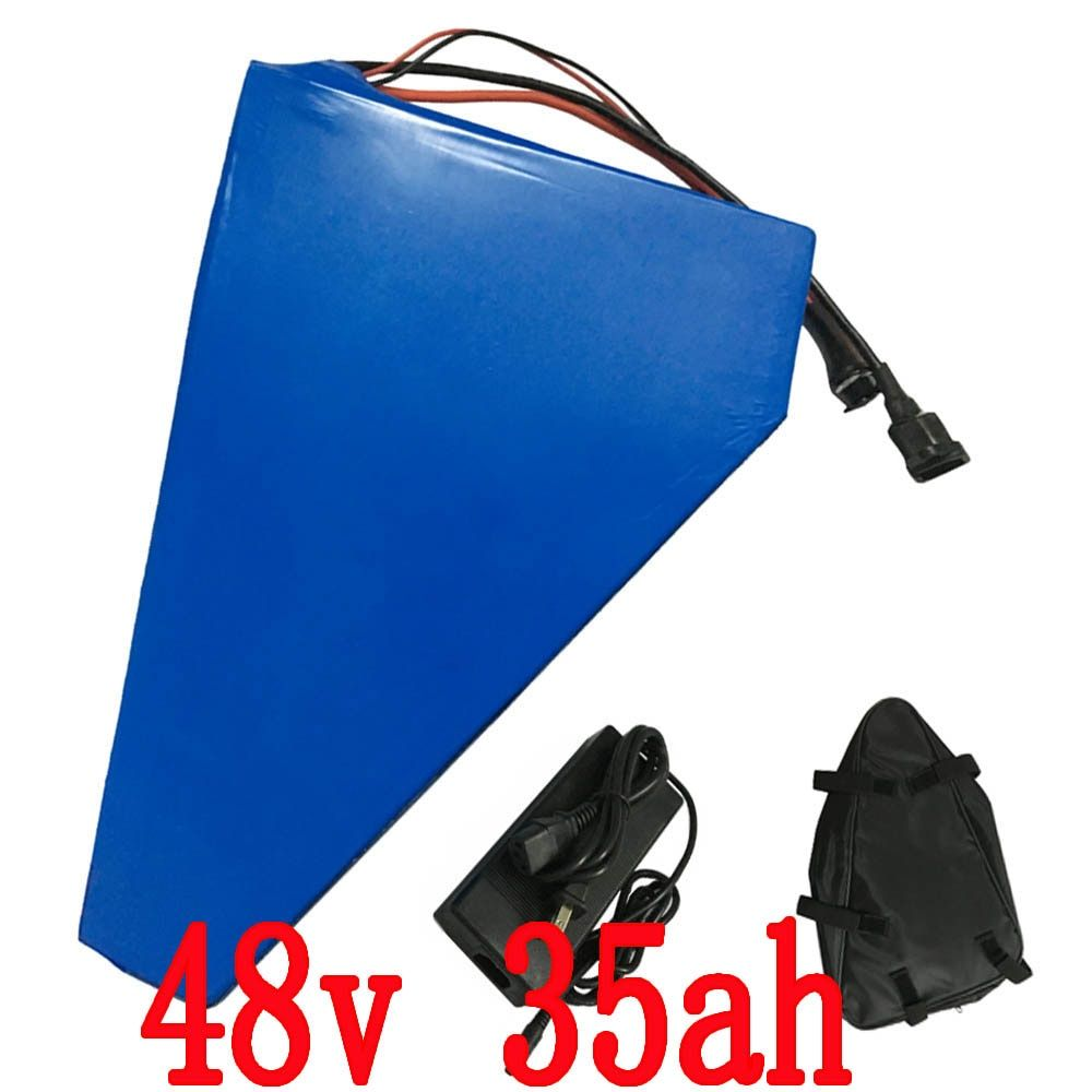 Free tax 48V 35AH Triangle Battery 48V 2000W use for sanyo 3500mah cell Lithium Battery with Bag and Charger free shipping