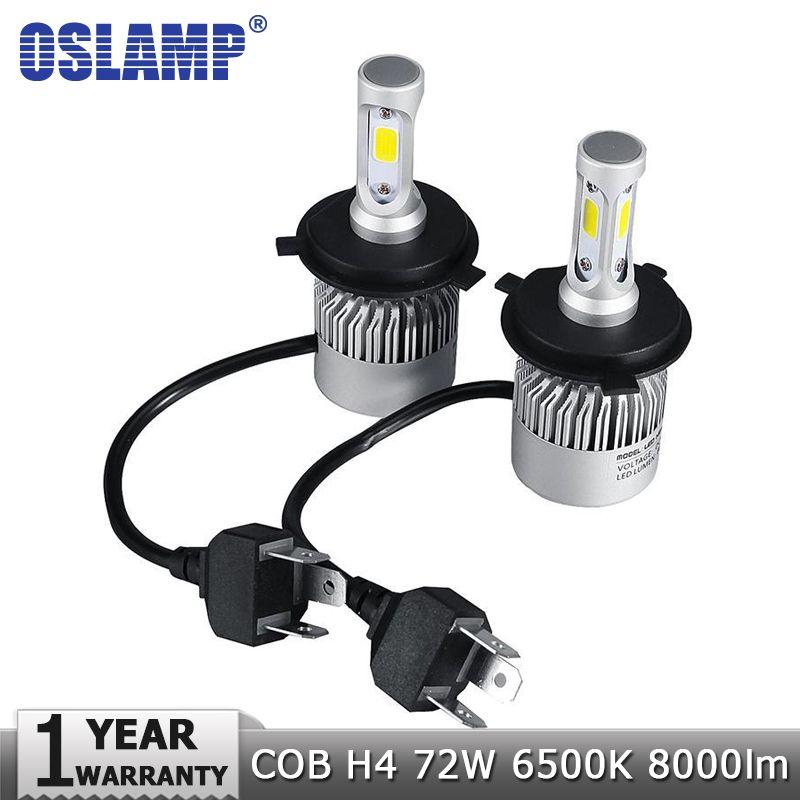 Oslamp LED Car Headlight H4 Hi-Lo Beam COB Auto Led Headlight Bulb 72W 8000lm 6500K Headlamp for Toyota Honda Nissan BMW Mazda