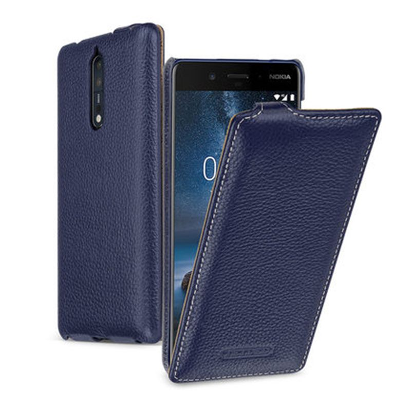 2017 Business Style Up Down Flip Phone Cover for NOKIA 8 Case Luxury Cow Genuine Leather Bag for Nokia8 Cases Phone Covers