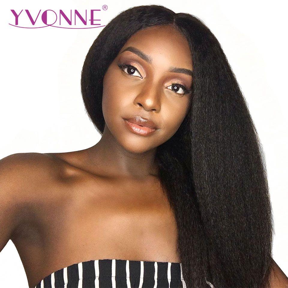 YVONNE 360 Spitze Frontal Perücke Pre Gezupft Mit Baby Haar 180% Dichte Reines Verworrene Gerade Perücken Für Schwarze Frauen Natürliche farbe
