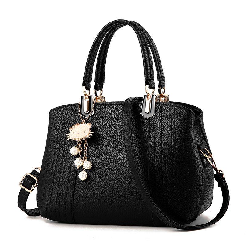 Fabra Handbag Luxury 6 Color European American Fashion New PU Retro Women Messenger Shoulder Bags Casual Simple Cat Rice Pendant