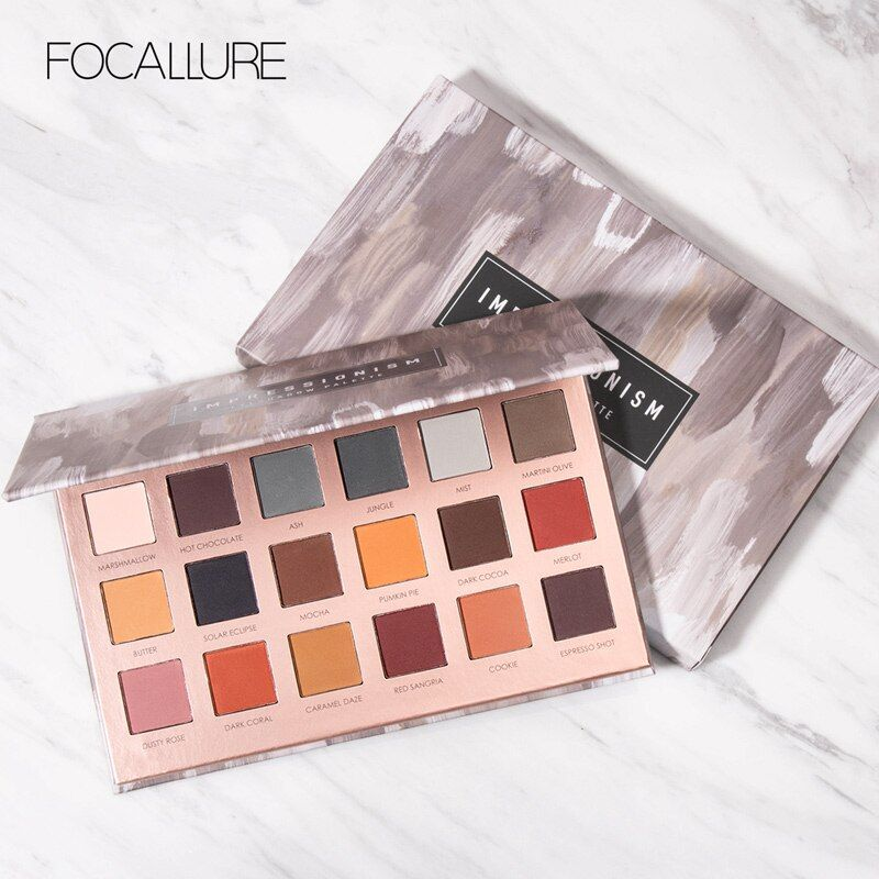 FOCALLURE 18 Colors All Mate Eye Shadow Highly Pigment Cream Eyeshadow Palette Easy to Blend Earth Color Comestic Eyeshadow