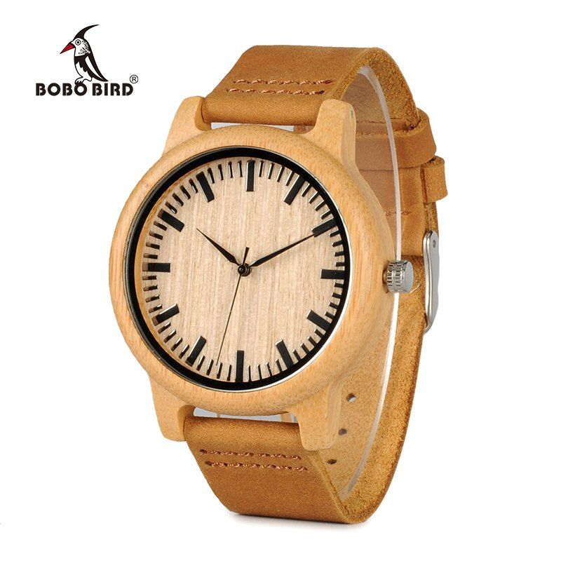 BOBO BIRD Timepieces Bamboo Watch for Men Women Wood Quartz Watches With <font><b>Scale</b></font> Soft Leather Straps