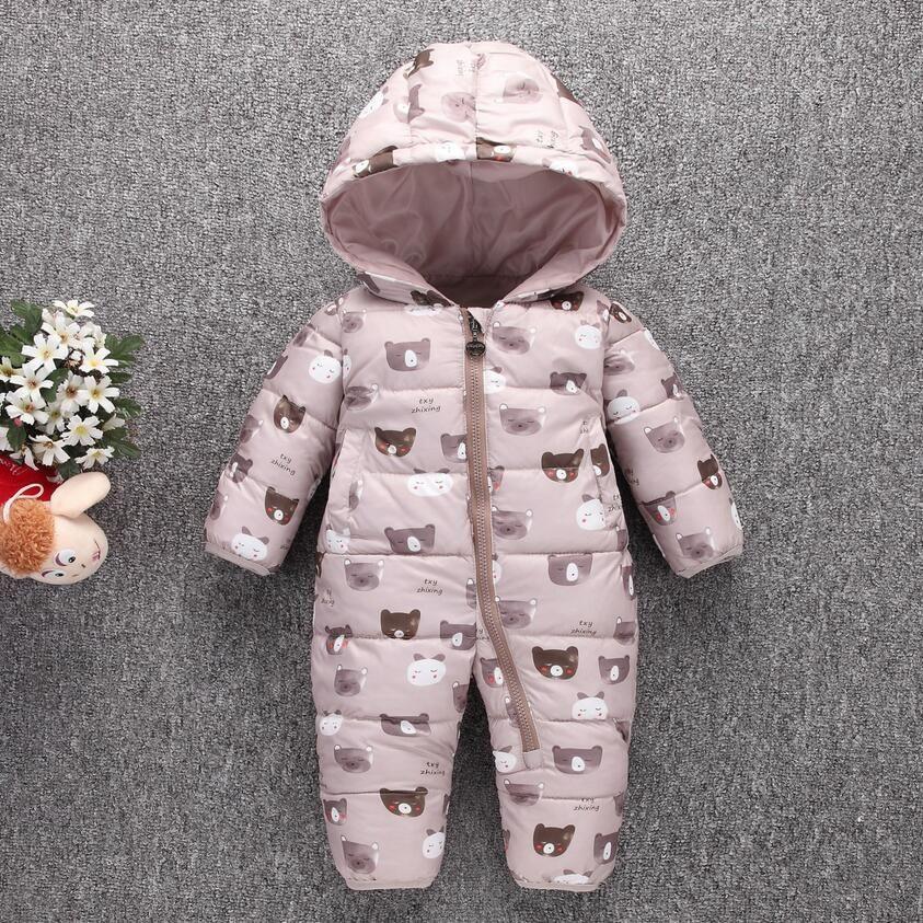 Enfant en bas âge Bébé Vers Le Bas Coton de Bande Dessinée Barboteuses Nouveau-Né Bébé vêtements habit de neige D'hiver Chaud Épais Enfants Vêtements