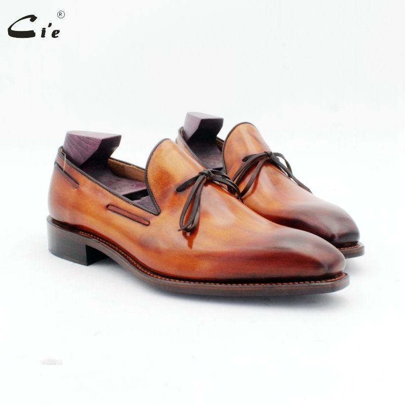 Cie karree fliege patina braun boot schuh handgemachten männer slip-on casual rahmengenäht full grain kalb leder loafer 186