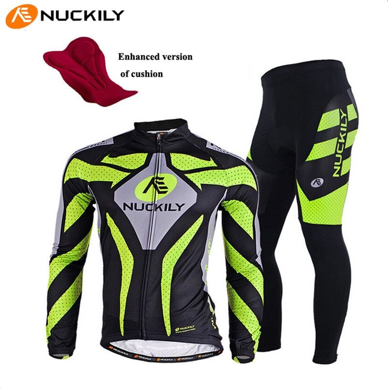 NUCKILY Long Sleeve Breathable Cycling Clothing 3D Gel Pad Pants Sport Clothes Autumn MTB Road Bike Bicycle Cycling Jersey Set