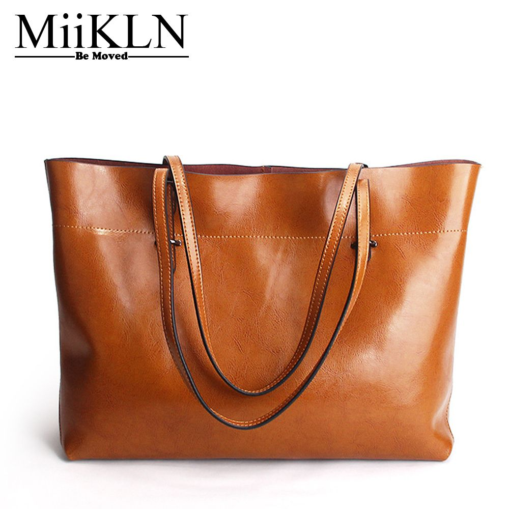 MiiKLN Red Black Blue Yellow Cow Leather Big Women Handbag Simple Style Genuine Leather Casual Tote Shoulder Bag For Women