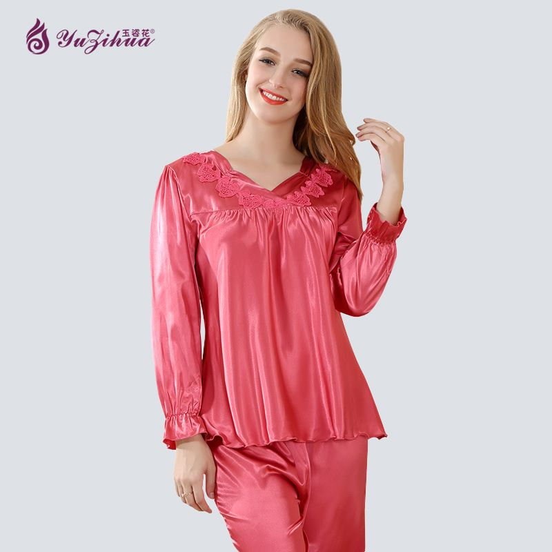 Yuzihua 2017 Womens Silk Pajamas Sets Pyjamas Women Pajamas For Women Pijamas Mujer Pijamas Para As Mulhere Pyjama Satin Pijama
