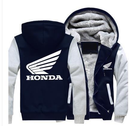 Hot New Winter Coat Honda Logo Printed Men's Baseball Suit Thickened Hoodies and Warm Coat Men's Cotton Jacket Moto Clothes