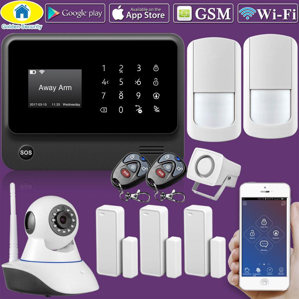 D'or de Sécurité D'origine G90B Plus WIFI GSM système 2G avec clavier Tactile IOS Android APP contrôle D'alarme de Sécurité À Domicile système
