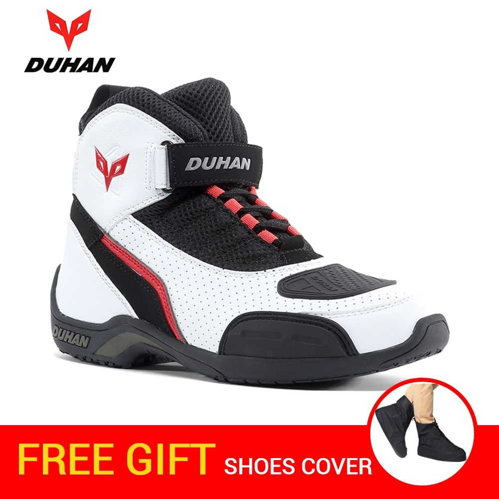 DUHAN Motorcycle Boots Men Summer Mesh Motorcycle Shoes Motocross Boots Motorbike Riding Racing Botas Moto Boots Black White